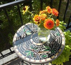 summer morning (Just Back) Tags: flowers color love sc water glass table petals bright saturday columbia southern porch hillary carolina basil zinnia botany rudbeckia biology corolla conspicuous floret ocimum brexit