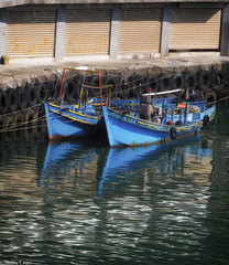 blue boats (allentimothy1947) Tags: boats lights taiwan places squidboats keelong