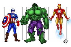 The Three Avengers (cazcarrot) Tags: blue red art digital sketch comic drawing cartoon ironman civilwar fanart superhero hulk marvel captainamerica vector mcu avengers raster tonystark avenger brucebanner steverogers applepencil ipadpro cazcarrot procreateapp