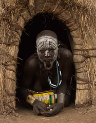 Traditional Mursi Woman (Rod Waddington) Tags: africa african afrika afrique ethiopia ethiopian ethnic etiopia ethnicity ethiopie etiopian thiopien omovalley omo omoriver mursi tribe traditional tribal village valle villager portrait people painted face female woman