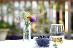 Weeds, Wine and Blueberries (dshoning) Tags: tabletopphotography wine weeds blueberries 52weeksof2016 table deck outside spoon