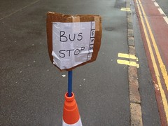 Soggy bus stop sign (Secret Pilgrim) Tags: sign cone busstop cardboard temporary soggy