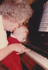 Grandma Mary and me at the piano (foxesandfigs) Tags: family grandma red playing film outfit texas grandmother tx mary piano 80s kelly eighties heights 1980s harlingen harker oppy
