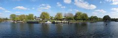stratford upon avon (Julaquinte) Tags: blue sky panorama river boats panoramic bandstand riverbank barge stratforduponavon riveravon