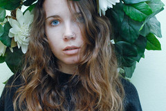 (tess_athey) Tags: flowers blue portrait brown white black green floral leaves self hair nose leaf eyes nikon grunge lips pale ring curly sweatshirt lime d200 wavy