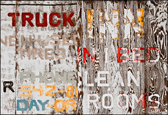 Conflicted Messaging (Junkstock) Tags: wood signs newmexico sign typography photography photo graphics junk diptych graphic photos decay advertisement explore photographs photograph signage type weathered aged artifact distressed patina oldstuff lordsburg flickrexplore explored