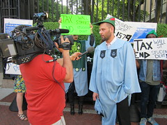 Columbia Grads for Robin Hood Tax (Robin Hood Tax USA) Tags: street college students wall student university graduation columbia tax debt robinhoodtax