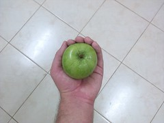 Green Apple in middle of a Mosaic (Ahmed AlHallak) Tags: green apple stem half sliced stalk