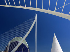 Valencia's Ciudad de las Artes y las Ciensias, Spain - Agora and suspension bridge 4 (Jon Bower) Tags: city blue sky geometric glass architecture modern spain arts azure ciudad cloudless artes palau sciences agora concret hemisferic aluminim valenica umbracle modernistic ciensias meseu