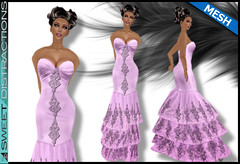 Mesh Tiered Lace Mermaid Gown in Lilac (Sweet Distractions) Tags: life mesh sweet lace sl bridesmaid second gown mermaid rigged distractions