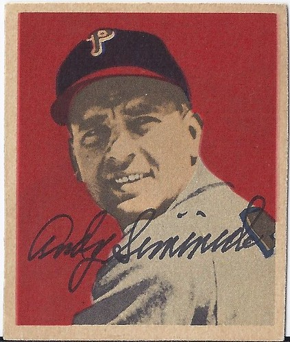 1949 Bowman - Andy Seminick #30 - Catcher (b: 12 Sep 1920 - d: 22 Feb 2004 at age 83 - Autographed Baseball Card