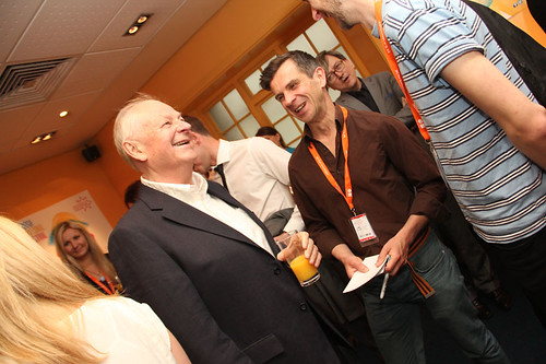 Richard Williams, Iain Gardiner and Adam Scott at a pre-awards drinks reception