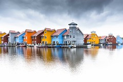 Storm coming in (Gies!) Tags: houses color harbor colorful harbour groningen reitdiep kleurrijk wijk huizen livingquarter stadhaven
