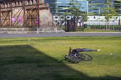 Tortuosity (pni) Tags: shadow people sun man building tree male grass bike bicycle wall fence suomi finland concrete person helsinki being ruin human helsingfors constructionsite skrubu pni pekkanikrus