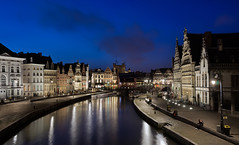 Gent by Night (Worlds In Focus) Tags: bridge water night canal europe belgium medieval bluehour oldtown gent impressedbeauty flickrdiamond goldstaraward pwpartlycloudy