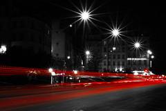 Red lines (kriss_toff) Tags: red blackandwhite paris lines night nikon traffic d3100