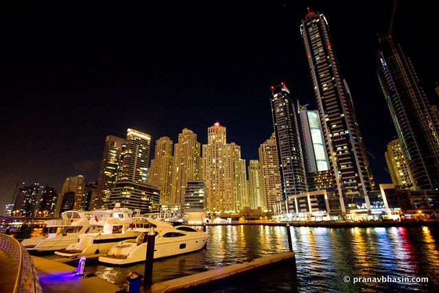 Boats Docked At Dubai Marina In Night, Dubai