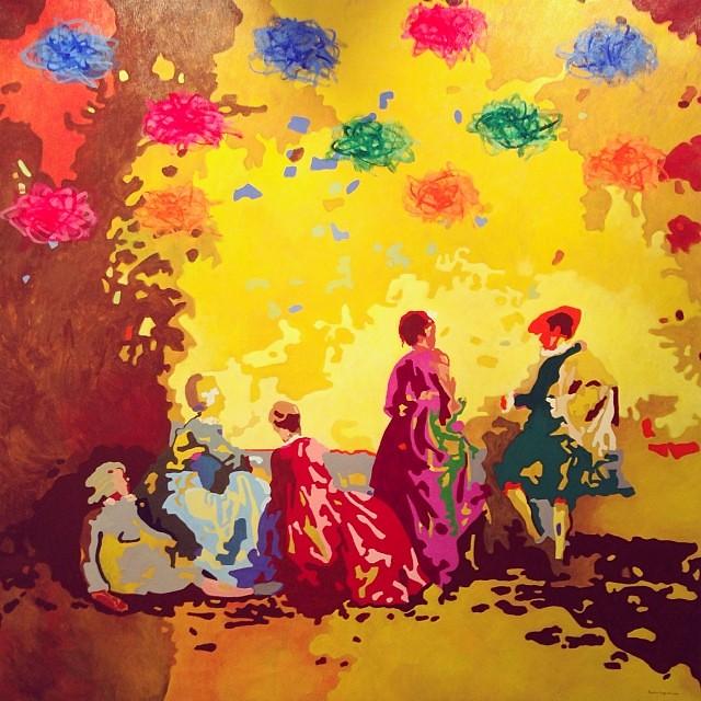 """""""A partir de J. A. Watteau"""" • """"El Diálogo, el Pastiche y la Memoria"""" #muestra individual de Ramiro Pareja Herrera #arte #arteenlima #art #artinlima #artist #artista #pintura #painting"""
