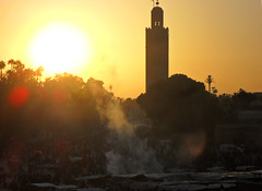 dusk from Place Jemaa El Fna (Struan Manson) Tags: sunset dusk morocco marrakech placejemaaelfna lakoutoubia