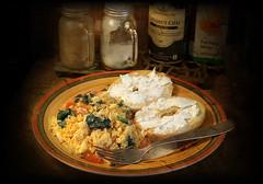 Bal Harbor Sunrise (Redroom Studios) Tags: food cheese breakfast tomato cream plate fork bagel eggs spinach omelette