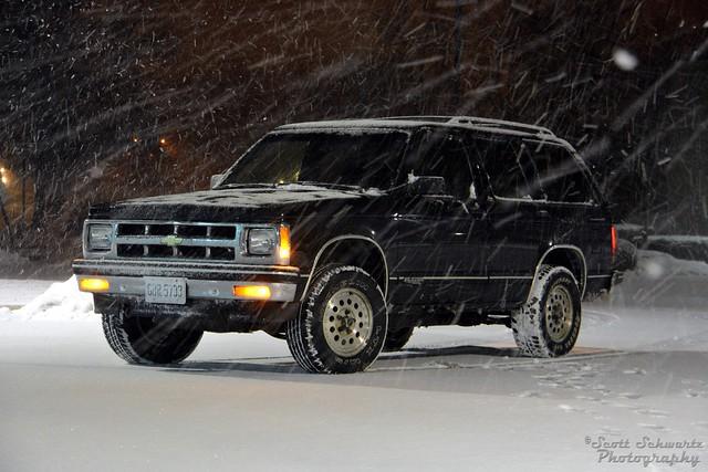 winter snow black 4x4 chevy 1994 blazer s10
