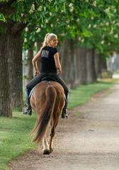 Mdchen auf Pferd 2 (alexanderferdinand) Tags: horse girl smiling sport tiere menschen riding lookingback akademiepark