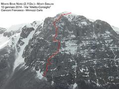 """Monte Bove Nord (2.112m.) - Spigolo Nord-Est """"Via Alletto-Consiglio"""" - 850 m. ...in Invernale -  10 gennaio 2014"""