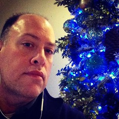 Day 718 - Day 352: Blue Christmas (knoopie) Tags: christmas holiday selfportrait me december doug christmastree year2 picturemail iphone knoop day352 365days 2013 day718 knoopie 365more 365daysyear2 instagram