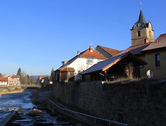 Werra river with fish staircase (:Linda: (till the end of the year OFF)) Tags: bridge church river germany town stair kirche bluesky thuringia treppe step brcke halftimbered weir townwall werra themar treppenstufe