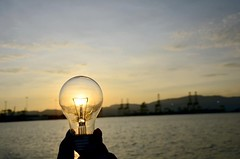 Sustainability image light bulb at sunse by IntelFreePress, on Flickr