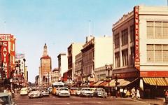 First Street, San Jose CA, 1950s (aldenjewell) Tags: ca street postcard united sanjose first 1950s artists savings surety newberrys