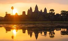 Sunrise in Angkor (yuriye) Tags: morning sun lake reflection water sunrise temple asia cambodia angkor wat tample yuriye