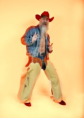 Yeller Yeller Kiss A Feller (Cowboy Tommy) Tags: hairy hat leather vintage beard spurs cowboy boots barechested crotch jeans western denim levis chaps buckles rugged chinks