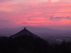 Nara 奈良 (nschleheck) Tags: old city pink trees roof sunset red sky mountains rooftop japan clouds temple japanese shrine asia view dusk culture 日本 tradition nara 奈良 challengeyouwinner 15challengeswinner