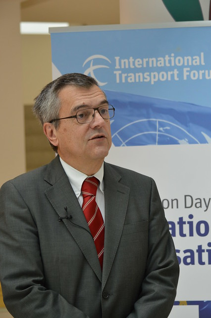 José Viegas, Secretary-General of the International Transport Forum, being interviewed during the ITF's Consultation Day in preparation for the 2015 Summit