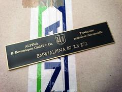 BMW / ALPINA B7 2.8 272 (bmw_alpina_teile) Tags: 2002 bavaria sticker alpina plate turbo dash 25 bmw b2 23 vin 28 decal e3 m3 a4 35 27 c2 console 325i e6 b7 csl e30 neue klasse aufkleber e9 320 nk b6s tii e34 c1 e10 b12 e36 biturbo e20 e32 b3 b9 e28 323i b6 320i e39 b11 b10 e21 e12 e23 e24 e31 b8 typenschild a4s bovensiepen