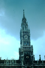 1953- City Hall Clock Tower- Munich- Germany (foundslides) Tags: pictures vacation holiday vintage germany deutschland europa europe pix kodak pics retro german 1950s kodachrome slides foundslides oldphotos 1953 midcentury vacationers redborder johnrudd irmalouisecarter irmalouiserudd