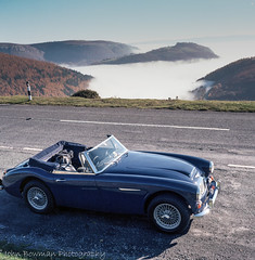 """Austin Healey and """"Inversion""""   Horseshoe Pass. (RED FROG SPRITE) Tags: rolleiflex t inversion 35tesser"""