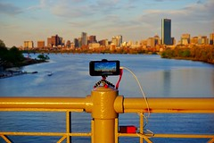 Behind the Scenes on Timelapsing ((Jessica)) Tags: bridge sunset boston skyline river golden timelapse battery newengland charles pack hour bolt strap wrist behind behindthescenes scenes bu iphone joby 6s gorillapod lapseit iphone6s fluxmob