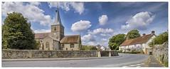 Ickleton Village Church (louisberk.com) Tags: blue summer sky tower church stone wall clouds village bell sigma steeple flint cambridgeshire ickleton dp0q