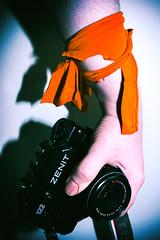 orange (bentleycoon) Tags: camera orange contrast 35mm zenit wristband