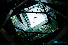 Birmingham-008-3.jpg (Sidekick Photo) Tags: city light sculpture man green glass silhouette architecture dark flying birmingham nikon balloon floating lookingup cube thecube brum d800