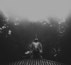 When you fade (Andr Varela) Tags: shadow portrait sky bw white man black art forest work person photography focus flickr mood quiet sad fear memories fine question mystic
