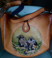 Bruno and Bella (sunnyrisingleather) Tags: handcrafted handbag corvid ravens largepurse tooledleather handtooledleather
