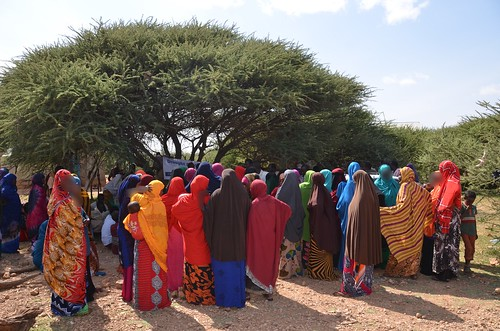 Women in Puntland register to receive food packs
