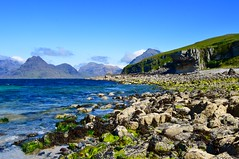 Elgol (rustyruth1959) Tags: blue sea cloud mountains seaweed green beach nature water landscape coast scotland nikon scenery rocks waves isleofskye outdoor cliffs hills highland loch cuillin elgol nikond3200