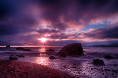 Rock Star (ericwagner) Tags: sunset seascape beach water san francisco waves