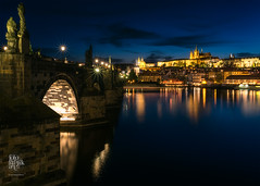 Charles Bridge at Blue Hour (Motographer) Tags: karlvmost charlesbridge bridge city cityscape nightscape prague praha czechrepublic river vltava reflection lights blue longexposure nikon d750 nikkorafs28mmf18g golden colorful europe architecture history heritage centraleasterneurope cee fotografikartz kartz motographer