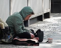 Barefoot Beggar (mikecogh) Tags: berlin pavement smoking beggar barefoot mug footpath hunched