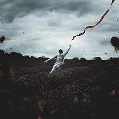 Panic Cord (Simon McCheung) Tags: saved red portrait england art self cord countryside farm bees fear fine dream lavender surreal insects bee help panic fields ribbon scared conceptual bumble pyjamas swarm